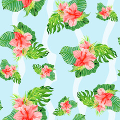tropical hibiscus flowers seamless watercolor pattern on blue background