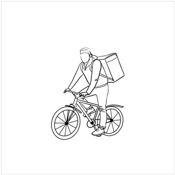 Hand drawn  vector illistration of bicycle courier, delivery man.