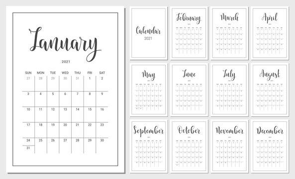 Vector Calendar Planner for 2021 Year. Handwritten lettering. Set of 12 Months. Week Starts Sunday. Stationery Design for Printable.