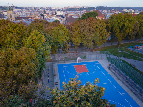 aerial top view of basketball court
