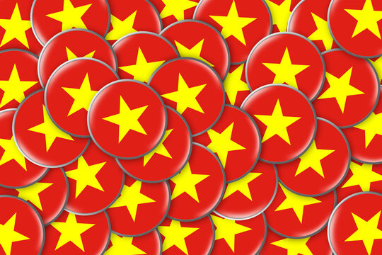 Many round badges with a Flag Of Vietnam. Travels. Symbols.