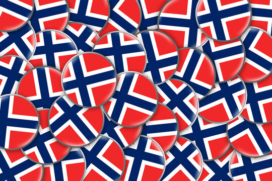 Many round badges with a Flag Of Norway. Travels. Symbols.