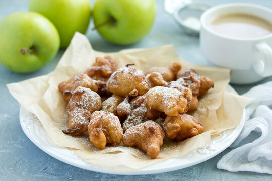 """donuts with apples """"Apple Fritters."""" Selective Focus."""