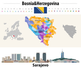 Fototapete - Vector map of Bosnia and Herzegovina municipalities. Sarajevo cityscape. Flag of Bosnia and Herzegovina