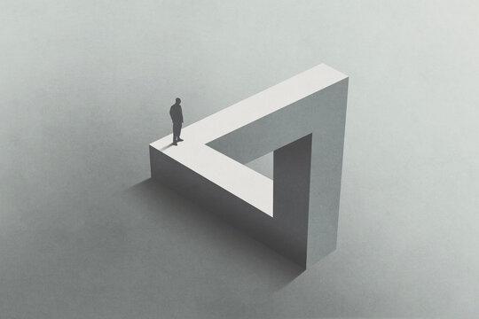 Illustration of man walking on Penrose triangle, surreal concept