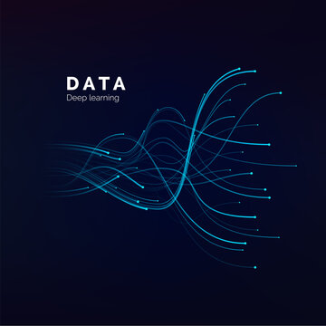 Data visualization. Deep learning or big data concept. Abstract blue waves on dark background. vector
