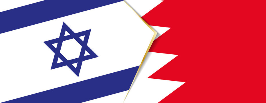Israel and Bahrain flags, two vector flags.