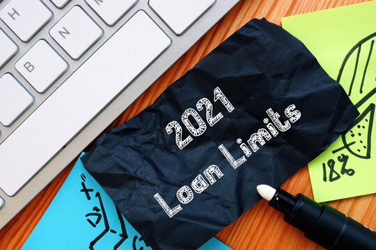 Financial concept about 2021 Loan Limits with inscription on the sheet.