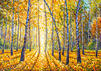 Hand made painting Birch autumn forest with bright sunlight on ground covered with lush foliage. Beautiful autumn park modern artwork.
