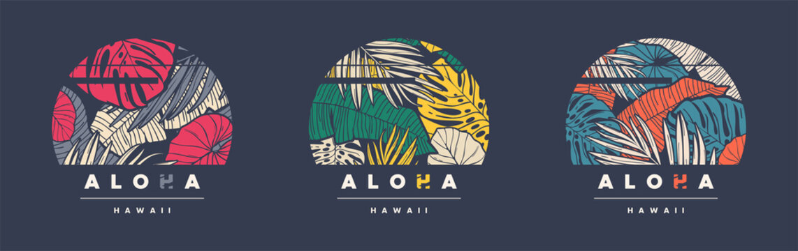 Aloha Hawaii. Set of three colorful tropical vector t-shirt designs, posters, prints, labels