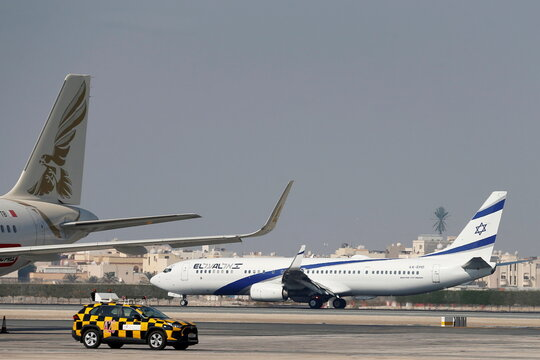 The Israeli flag carrier El Al's airliner carrying an Israeli delegation accompanied by the U.S. treasury secretary lands in Muharraq