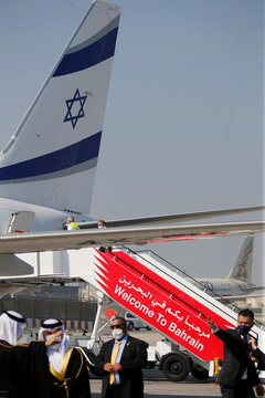 The Israeli flag carrier El Al's airliner carrying an Israeli delegation accompanied by the U.S. treasury secretary is seen in Muharraq