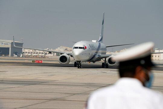 The Israeli flag carrier El Al's airliner carrying an Israeli delegation accompanied by the U.S. treasury secretary arrives in Muharraq