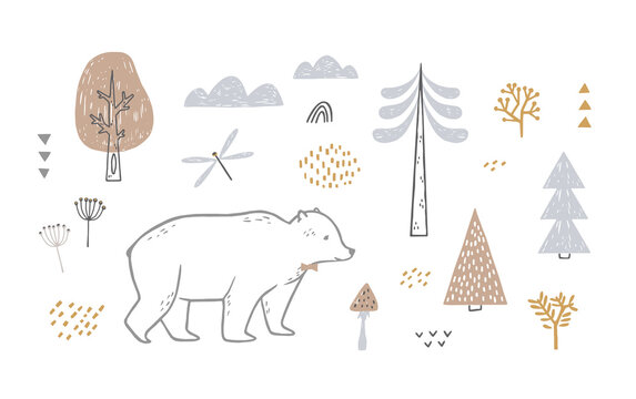 Set with cute bear, trees, clouds. Scandinavian style illustration isolated on white background.