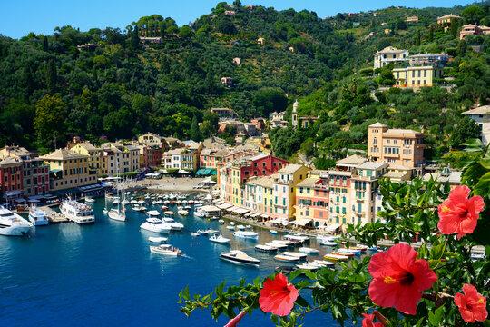 Beautiful Portofino cityscape, best touristic Mediterranean place with typical colorful buildings and famous luxury harbor, Portofino, Liguria, Cinque Terre, Italy, Europe