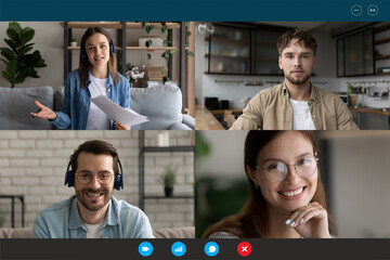 Screen view group video call, team brainstorming, negotiating online, sharing ideas, four people...