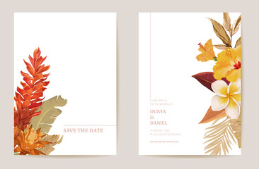 Wedding invitation dried tropical palm leaves, dry tropic flowers card, watercolor minimal template Wall mural