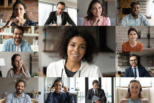 Head shot diverse business people partners engaged in online conference, using webcam and social media platform for group video call, colleagues brainstorming, negotiating, internet corporate meeting