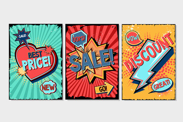 Comics style backgrounds set. Cartoon banners collection. Pop art templates with speech bubbles, text and frames. Vintage style design.