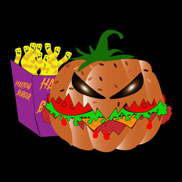 Vector illustration of a menu design with pumpkin and worms. Halloween concept