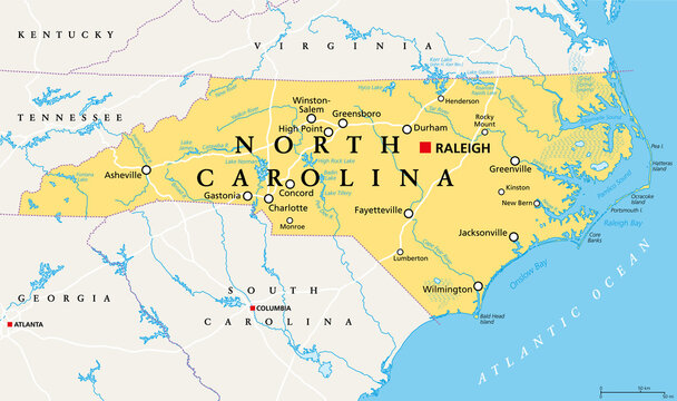 North Carolina, NC, political map. With the capital Raleigh and largest cities. State in the southeastern region of the United States of America. Old North State. Tar Heel State. Illustration. Vector.
