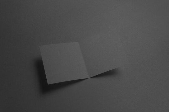 Black Square Bi-Fold Brochure Mock-Up