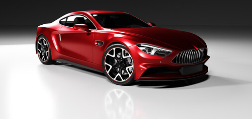 Premium red coupe sports car in studio light.