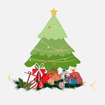 Christmas tree with gifts and ornament merry christmas. vector illustration.