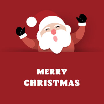 Merry Christmas and Happy New Year, Santa claus with greeting card.