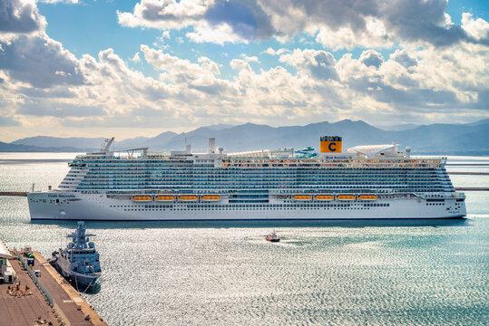 Cagliari, Italy 13/10/2020; Costa Smeralda cruise ship the flagship of the fleet of Costa Crociere, first travel during Covid-19 pandemic disease.  Big Cruise ship living Cagliari harbor.