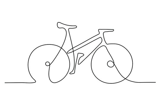 One Line Drawing or Continuous Line Art of classic bicycle vector illustration. Hand drawing business concept sketch of bike a traditional transportation. Healthy lifestyle minimalist style