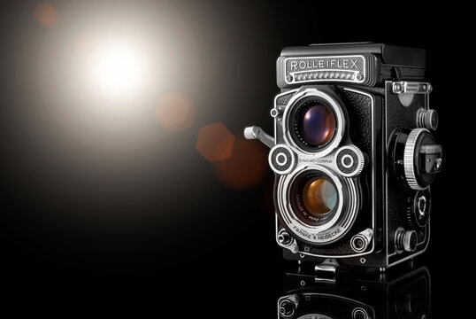 Old Rolleiflex film camera. Bi-optic analog camera. Cagliari, Italy 18/10/2020