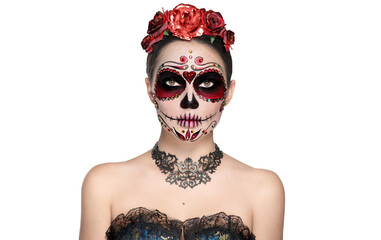 Photo sur Plexiglas Dinosaurs Sugar skull makeup. Halloween party make-up, traditional Mexican carnival, Santa Muerte. Beautiful young woman costume, painted face. Model girl isolated on white background.