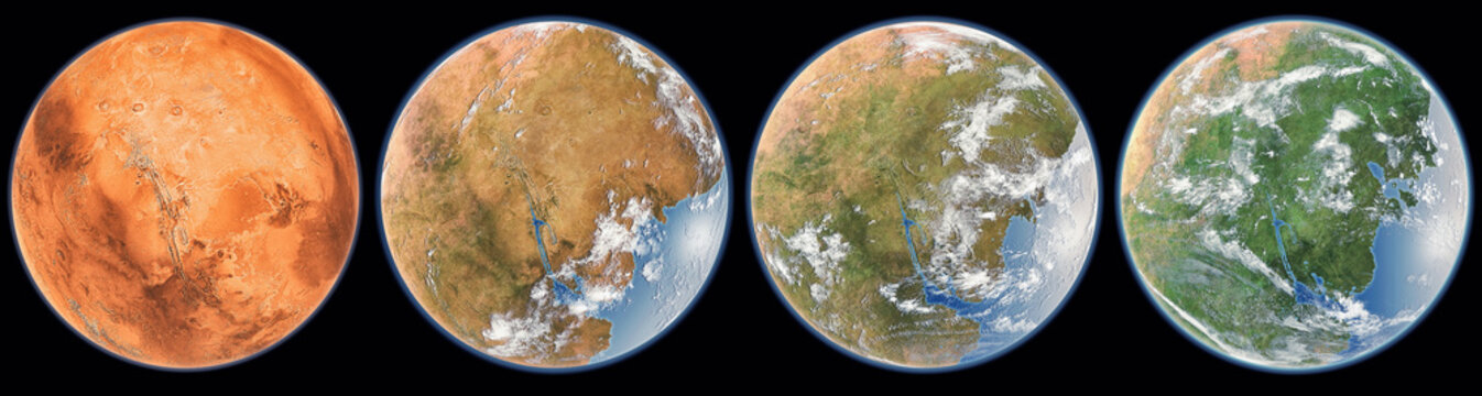 Mars terraforming step (Elements of this image furnished by NASA). 3D rendering