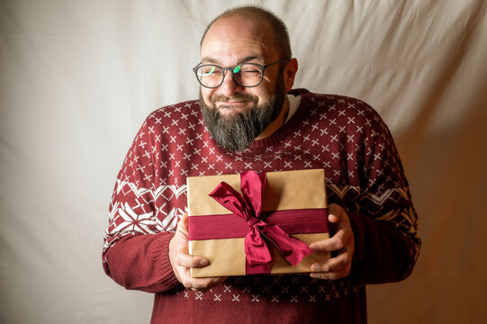 Man is really happy about a present