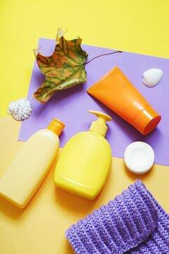 Autumn and winter skincare. Toiletries set, natural cosmetics. Organic shampoo, liquid soap and nutritious cream