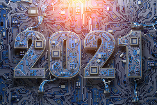 2021 on circuit board or motherboard with cpu. Computer technology and internet commucations digital concept background. Happy new 2021 year.