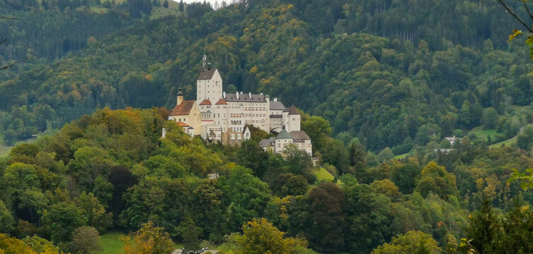 Hohenaschau Castle in the middle of a forest