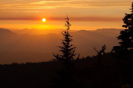 Sunset Sky over the High Cascade Mountains
