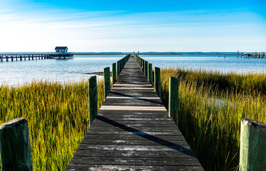 Wooden pier in Chincoteague Bay Virginia