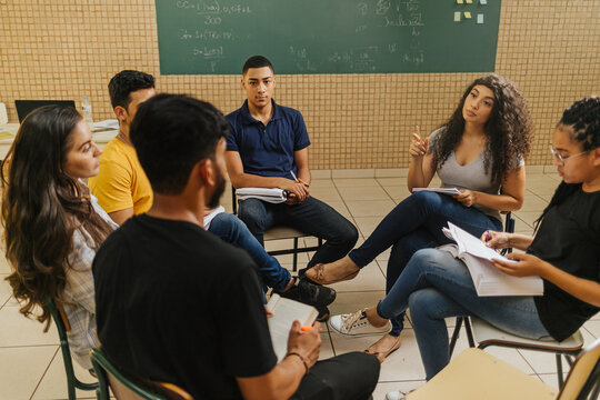 Latin students in the classroom. students doing group study