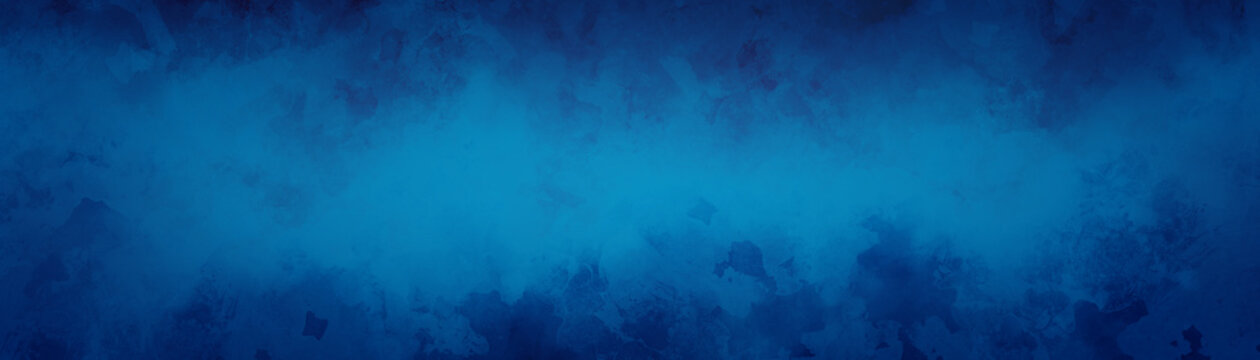 Blue background concept with grungy pattern painted in grunge texture border design, abstract distressed panoramic banner with blank bright center