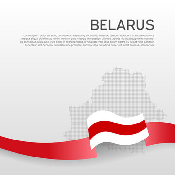 Belarus wavy flag and mosaic map on white background. Wavy ribbon in the colors of the flag of belarus. National poster. Vector design. State belarusian patriotic banner, flyer