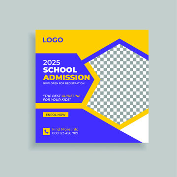 Back To School Admission Promotion Social Media Post Template Design. Students admission social media post banner template