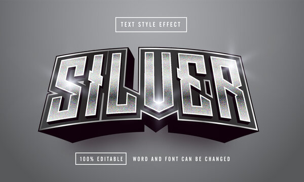 silver font Text effect editable premium free downloa
