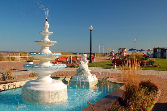 The Centenial Fountains, located just off the boardwalk in Bradley Beach, New Jersey, was dedicated at the town's 100th anniversary