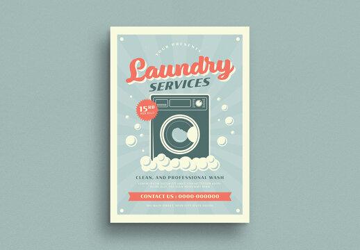 Retro Laundry Service Flyer Layout