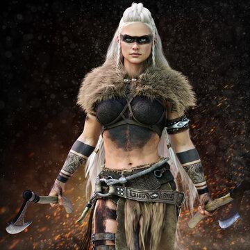 Fierce Viking warrior female walking through the battlefield wielding duel bearded axe's wearing tribal paint markings and tattoo's . 3d rendering