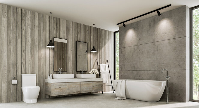 Loft style bathroom with wood plank and concrete wall 3d render,There polished concrete floor ,old wood cabinet with white terrazzo counter top,with tall window overlooking nature view