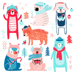 Wall Mural - Cute Bears in winter clothes. Childish characters - Christmas theme.
